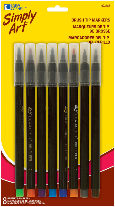 Simply Art Brush Tip Markers 8/Pkg-Assorted Colors