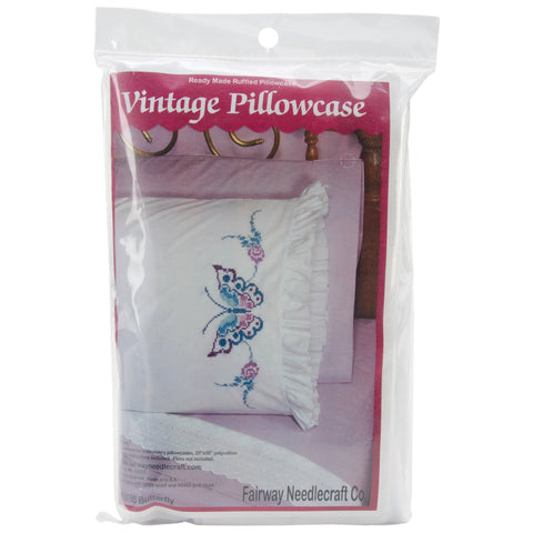 "Fairway Stamped Ruffled Edge Pillowcases 30""X20"" 2/Pkg-Large Butterfly"
