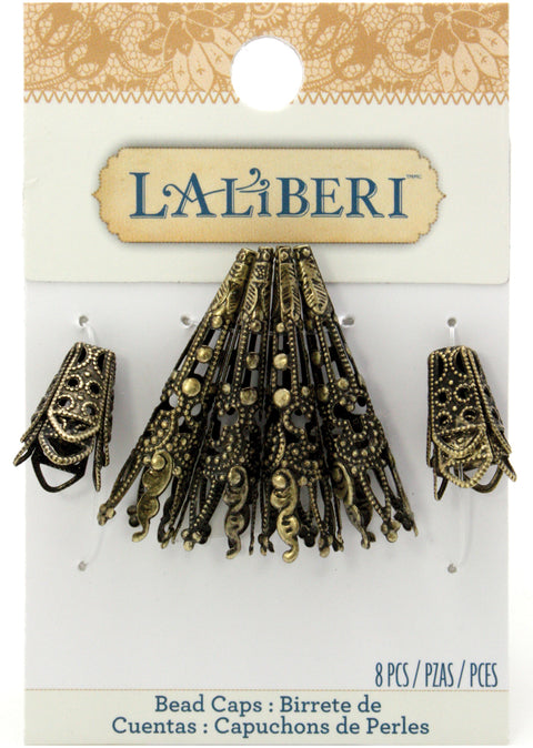 Laliberi-Flowers And Brass Bead Caps 8/Pkg-Long/Short