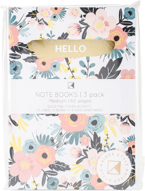 "Kaiser Style Notebooks 6""X8"" 60 Pages 3/Pkg-Bloom; 1 Blank, 1 Lined & 1 Grid"