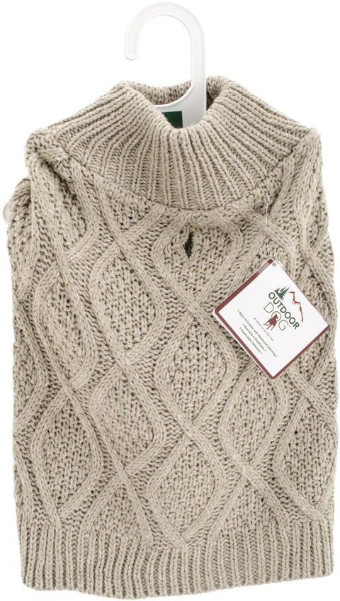 Fashion Pet Fisherman Sweater-Taupe Small