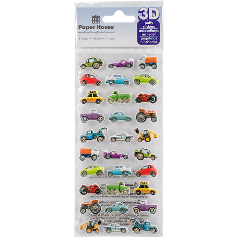 "Paper House Puffy Stickers 3""X6.35""-Mini Mixed Cars"