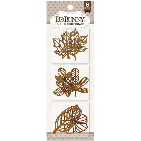 BoBunny Laser-Cut Chipboard -Foliage, 6/Pkg
