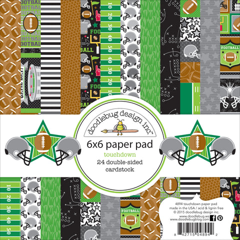 "Doodlebug Double-Sided Paper Pad 6""X6"" 24/Pkg-Touchdown, 12 Designs/2 Each"