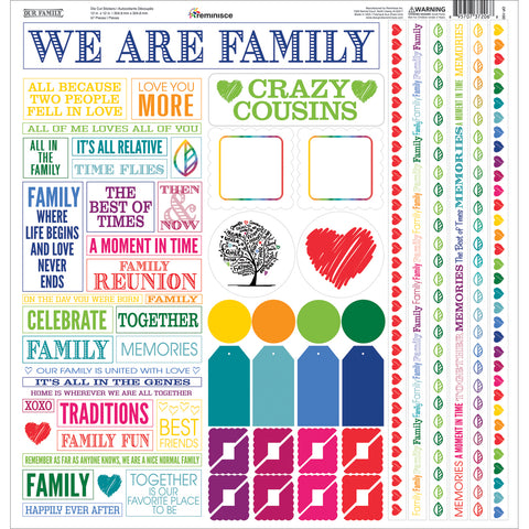 "Our Family Cardstock Multi Stickers 12""X12""-"