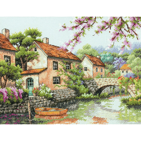 "Dimensions Counted Cross Stitch Kit 13""X10""-Village Canal (14 Count)"