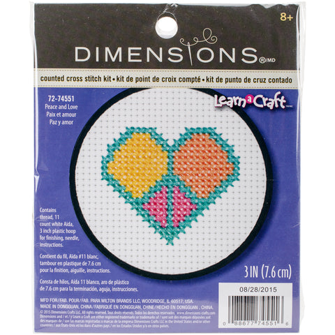 "Dimensions/Learn-A-Craft Counted Cross Stitch Kit 3"" Round-Peace & Love (11"