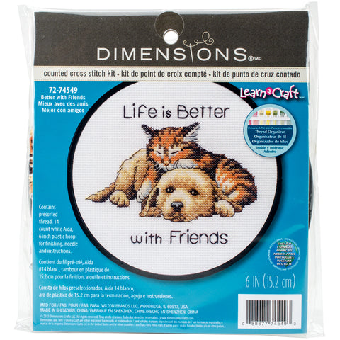 "Dimensions/Learn-A-Craft Counted Cross Stitch Kit 6"" Round-Better With Friends"