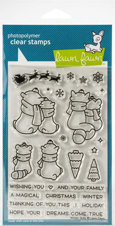 "Lawn Fawn Clear Stamps 4""X6""-Winter Skies"