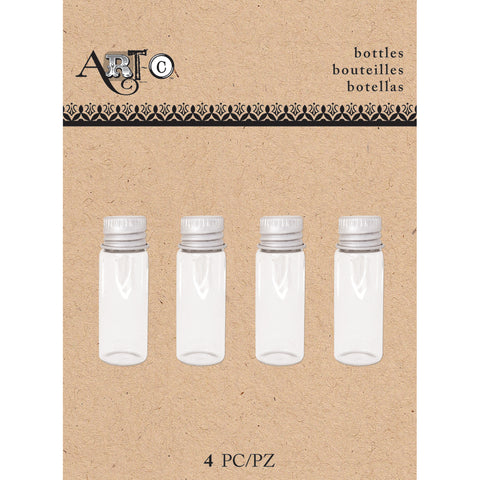Art-C Mini Glass Bottles-Small Clear Round, 4/Pkg