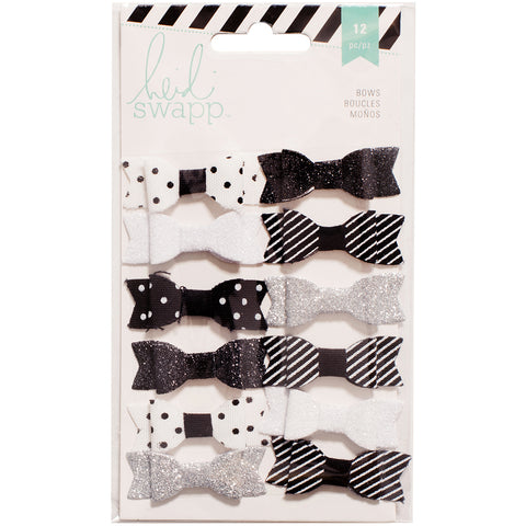 "Heidi Swapp Fabric Bows .5""X1.5"" 12/Pkg-Black/White"