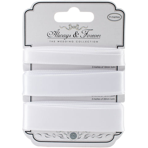 Craft Consortium Always & Forever Satin Ribbon 3/Pkg-White