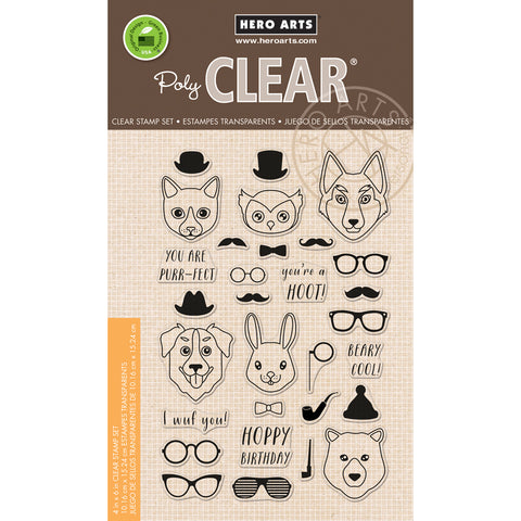 "Hero Arts Clear Stamps 4""X6""-Hipster Animals"