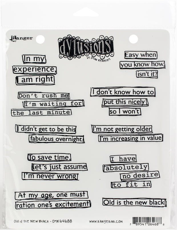 "Dyan Reaveley's Dylusions Cling Stamp Collections 8.5""X7""-Old Is The New Black"