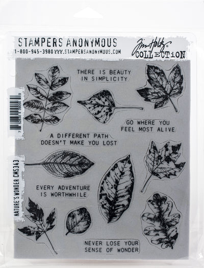 "Tim Holtz Cling Stamps 7""X8.5""-Nature's Wonder"