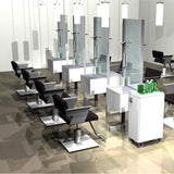 The About Face two sided cutting station shown in white/silver and in a row of 4 with Cutter chairs.