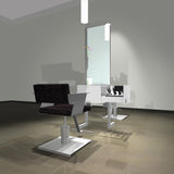 About Face two-sided station shown with Cutter chairs in white/silver finish.
