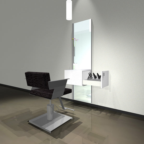 About Face Wall stylist station shown in white/silver finish with a Cutter styling chair.