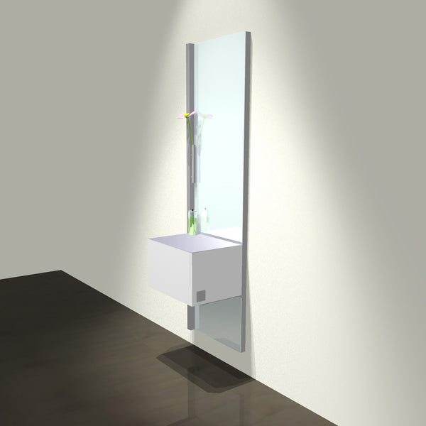 The About Face Wall cutting station is a wall mounted stylist station with a welded steel tubular frame with a powder coat finish and full length mirror.  Shown in white/silver finish.