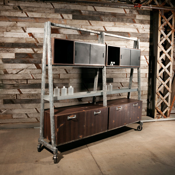 Wash Out has it all, enclosed dry towel storage & open display, galvanized steel dispense rack and enclosed storage cabinets. The main structure is a fully welded steel tube frame with an industrial grade weathered galvanized coating.