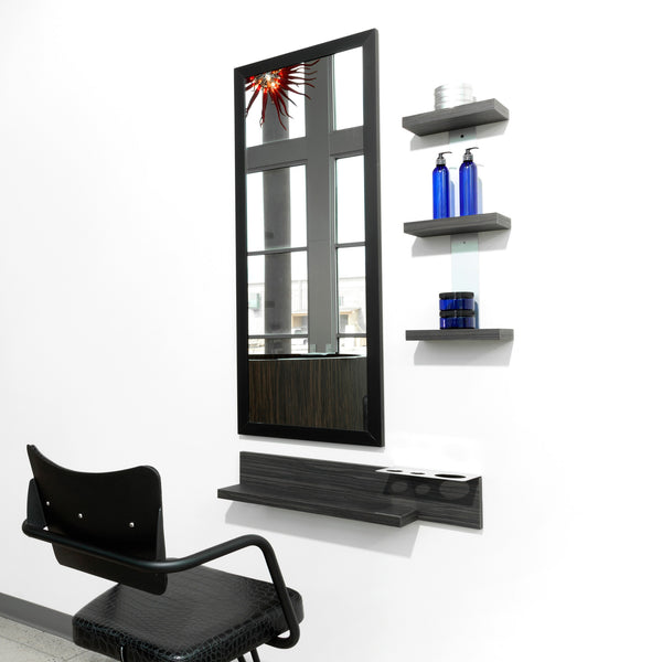 Two Deep is a simple and modern stylist station mirror with options in color and aluminum frame profile. It has a safety backed clear mirror and is cleat mounted to wall or cabinet.