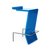 Ultra-modern cantilevered stool. Zag is perfect for reception or make up counter. Unique and colorful way to give sitting with style a whole new meaning. Shown in Blue.