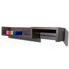 Rack is a laminate clad wood salon coloring station shelf with hanging rod for color tubes. Shown in Jurassic Ebony finish.