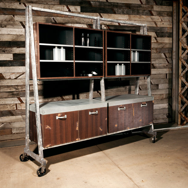 Iron Horse provides ample color storage and display area in the laminate clad upper cabinets and shelves. Storage cabinets have adjustable interior shelves and a galvanized steel color mixing counter top. The main structure is a fully welded steel tube frame with an industrial grade galvanized coating.