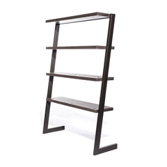A 4-tiered, freestanding salon retail shelf display with unique geometry.