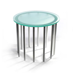 Duplicator table uses rhythmic steel rods to support its thick etched glass top. It makes a striking and modern statement in any reception area as a side table or for display.  Shown with round glass top and twelve silver legs.