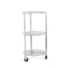 "A fully welded steel frame, with a durable powder coated finish, supports three 3/8"" clear acrylic shelves. Mobility and support are provided by 3-swivel casters."