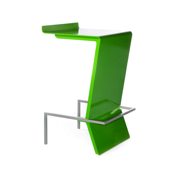Ultra-modern cantilevered stool. Zag is perfect for reception or make up counter. Unique and colorful way to give sitting with style a whole new meaning. Shown in Lime.