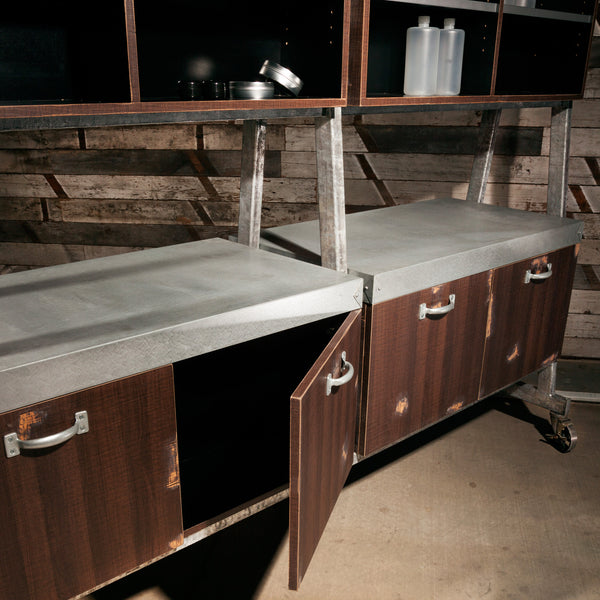 Detail view of the galvanized color bar counter and lower cabinets