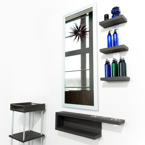 Shift shown in Moon Macassar finish and with mirror and retail shelf setup.  Make a shift from the ordinary with a modern wall stylist station.