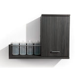 Double your back bar function with Next Door, a product dispense and towel cabinet. Shown in Moon Macassar.