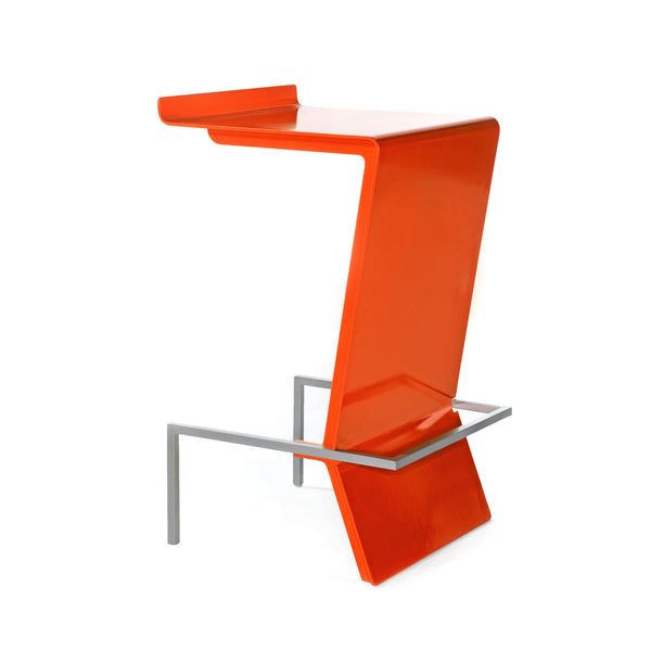 Ultra-modern cantilevered stool. Zag is perfect for reception or make up counter. Unique and colorful way to give sitting with style a whole new meaning. Shown in Orange.