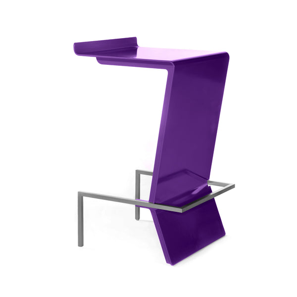 Ultra-modern cantilevered stool. Zag is perfect for reception or make up counter. Unique and colorful way to give sitting with style a whole new meaning. Shown in Violet.