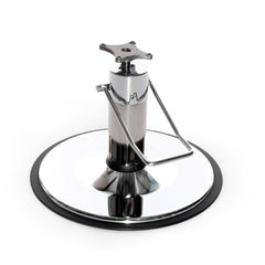 The Barber 5500 chair base features a 5.5-inch pump body, providing a hefty look beneath wide salon and barber chairs. Its 27-inch diameter base plate is constructed of heavy gauge steel to prevent bending.  Shown in Chrome.
