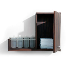 Double your back bar function with Next Door, a product dispense and towel cabinet. Perfect utility for your salon.