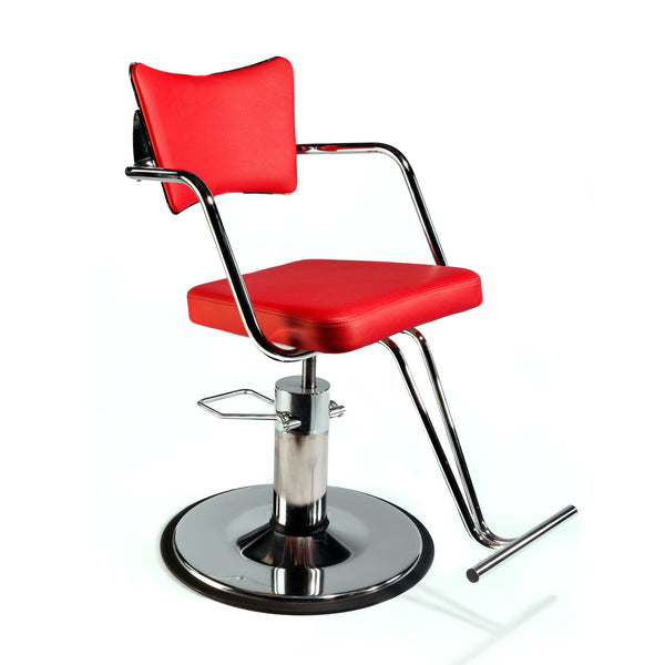Mobius salon chair features a fully welded steel frame with beautiful curves, chrome plated or powder coated with a 10 year warranty.