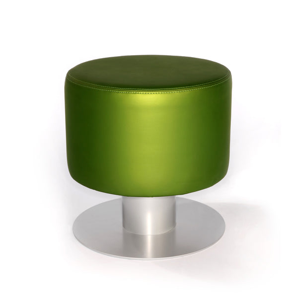 Drop or slide Pod chair into your salon for uniquely simple style, convenience and comfort. Luminescent green upholstery and metallic silver steel base combine for a fresh look.
