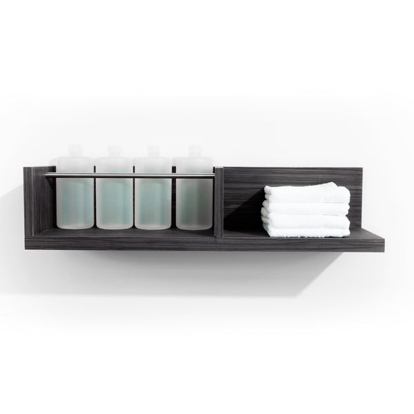 Two Fold is a dual function product dispense and towel shelf for the back bar. It features a laminate clad wood shelf for dry towels and a stainless steel bar retainer for liter bottles. Shown in Moon Macassar.