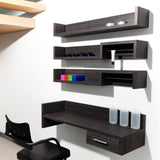 Laminate clad wood construction. Combine with Rack and Stack shelves to create your own color mixing and display area.