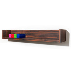 Stack is a wall mounted salon color shelf with laminate clad wood construction. Shown in Jurassic Ebony.