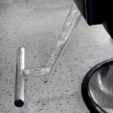 Detail of the tubular truss like foot rest that is welded steel and chrome.