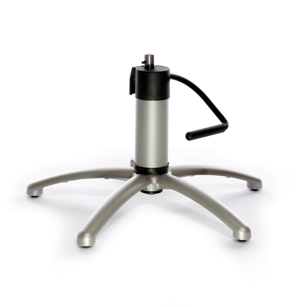 The 5-star base on the Model 3500 provides a contemporary look beneath any styling chair. The heavy-duty, 26-inch base and 3.5-inch pump body are constructed of heavy gauge steel to prevent bending. Shown in Silver