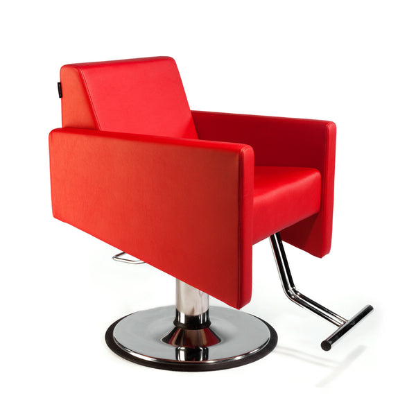 Cutter is a fully upholstered lounge type styling chair constructed in hard wood ply for durability.  The elegant foot rest is welded steel in a chrome plated finish.  Shown in lipstick red upholstery with a round pump base.