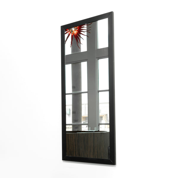 Two Deep is a simple and modern stylist station mirror with options in color and aluminum frame profile. It has a safety backed clear mirror and is cleat mounted to wall or cabinet.  Shown in Runway style and Black finish.