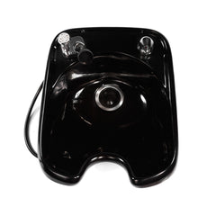 3000 salon wash unit shampoo bowl shown in black with a 550 faucet.  The style shown here is designed to be built into your salon's back wash unit.