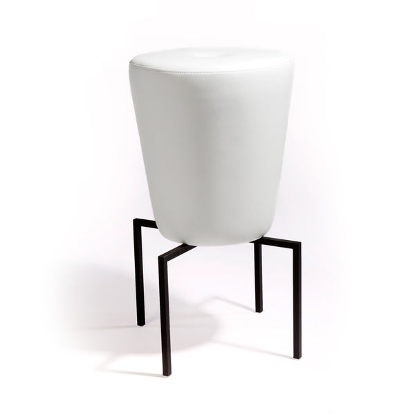 "Simple, elegant, technical, and modern. Satellite stool features upholstered 42"" tall seat cushion with a hand fabricated iron base/footrest in chrome or powder coat finish. Shown in white with black frame."